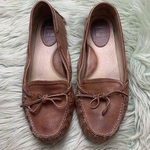 Frye Brown Leather Driver Slip On Shoes